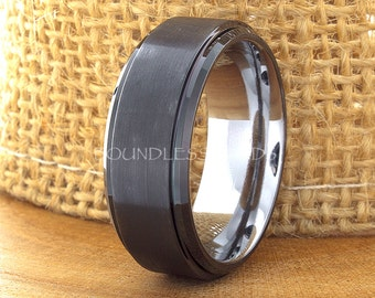 Black Tungsten Wedding Band Stepped Edges Two Tone Tungsten Ring 8mm Laser Engraved His Hers Black Band Anniversary Promise Ring Comfort Fit
