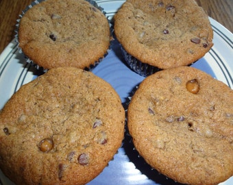 Over the Top Homemade Caramel Mocha Chip Banana Muffins (18 Standard Size Muffins)