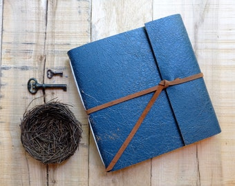 Distressed Leather Watercolor Sketchbook - Blue