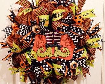 Halloween Wreath Witch Wreath Deco Mesh Wreath Halloween Decor Halloween ** MADE TO ORDER **