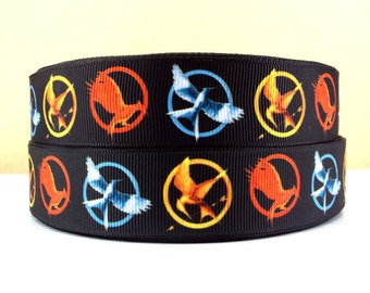 "Lot of 2 Metres of 1"" Grossgrain Ribbon - Hunger Games Mockingjay - For Craft"