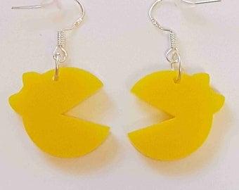 Ms Pacman Silhouette Earrings - Acrylic