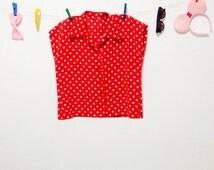 Vintage Women's Blouse.50's Blouse.Women's Skirt.1950 Blouse.Red Polka Dots Vintage Blouse For Women 1950s . free shipping