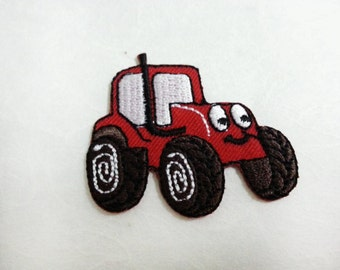 Red Tractor Cartoon  Iron on patch (S) 5 x 4.4 cm - Tractor Applique Embroidered Iron on Patch