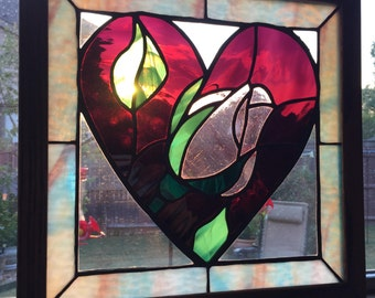 Stained Glass Heart with Rose