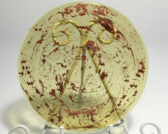 Amber and Copper Fused Glass Round Rimmed Salad or Dessert Plate - 9 inch diameter