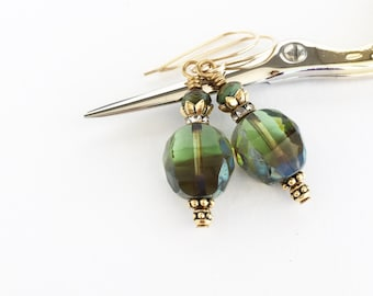 Czech Glass Green Picasso Beads Earrings, Olive Green Drop Earrings, Vintage Style Jewelry