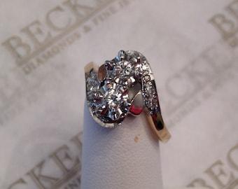 Vintage retro 14k tt 11 Diamond Bypass Ring Illusion & Pavé Set, .42 tw JK-VS2-I1, Size 7.5 Milgrain edges