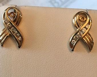 Pair of vintage 14k yellow gold Ribbon Shaped Earring Jackets 10 Diamonds .28 tw IJ-I1