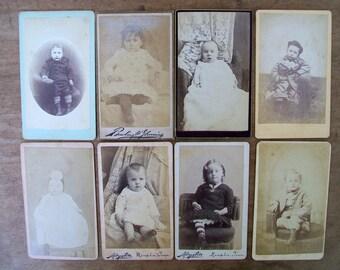 Lot of 8 Vintage Cabinet Photos - Children, Babies