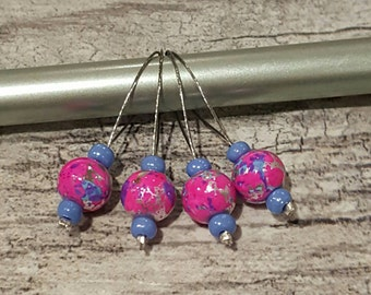 Flexible Knitting Stitch Markers Set of 4 Pink