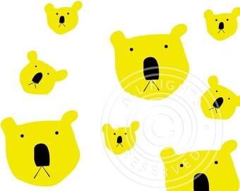 Koala greeting card yellow & white, koala pattern