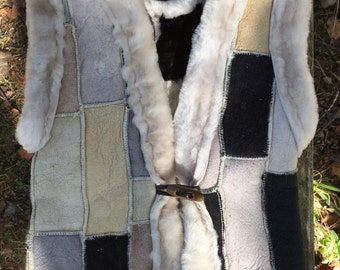 Natural Lamb Shearling Patchwork Vest