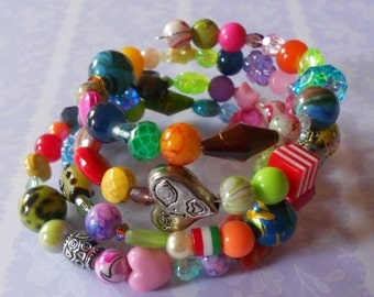 Wrap around bracelet, assorted beads