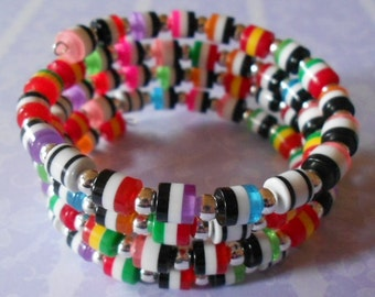 Wrap around bracelet, colourful resin tube beads