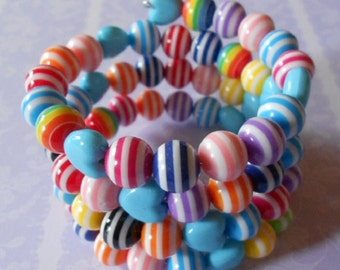 Handmade wrap around bracelet, resin and acrylic beads