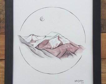 Mongolian Mountain Original Watercolor Painting
