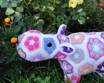 Stuffed hippo Crochet animal toy African flower crochet Hippopotamus toy Stuffed toy Crochet hippo Amigurumi toy Christmas gift Knitted toy