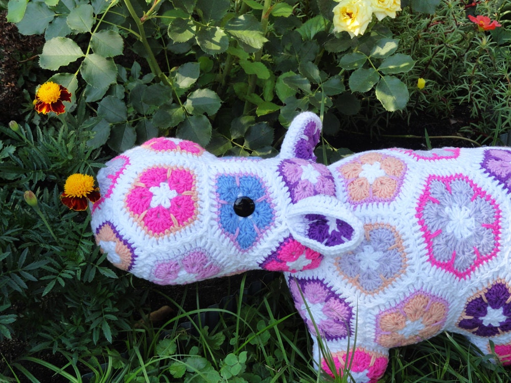 Stuffed Hippo Crochet Animal Toy African Flower Crochet