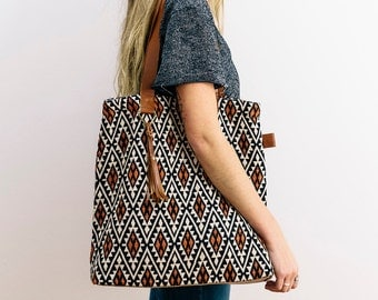 Woven fabric and leather tote, shoulder bag, satchel, laptop bag with tassel