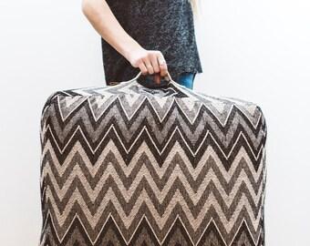 Large box shaped floor cushion, pouf, zig zag chevron black and natural pattern
