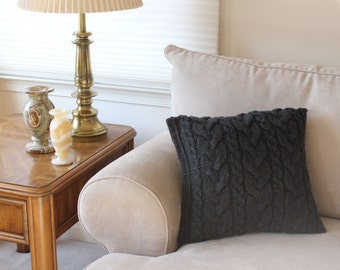 """Chunky Cable Knit Pillow, 16"""" Square, Charcoal Gray, Complete with pillow insert"""