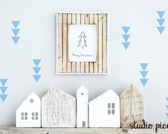 Tiny triple triangle wall decals, small triangle wall stickers #030