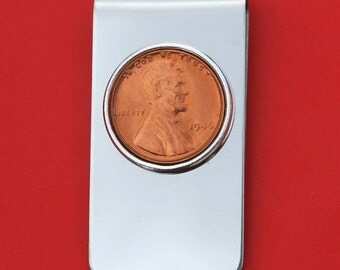 US 1909 ~ 2016 Lincoln Small Cent BU Uncirculated Coin Stainless Steel Silver Money Clip NEW