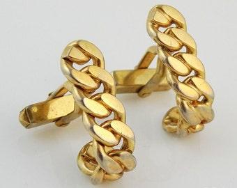 Vintage Swank Cufflinks Curled Chain Link Textured Sleek Cuff Links