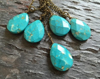 Boho Wedding Jewelry,Simple Turquoise Necklace,Create Your Own Layered Look,Unique Boho Bridesmaid Gift Present,Agate Heart