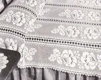 Filet Crochet Pattern Adored Floral Filet Bedspread PDF Instant Download