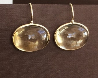 14k solid yellow gold and large citrine cabochon earrings, gemstones