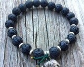 Stackable Black Lava Bead Yoga and Meditation Bracelet with Om Elephant Charm