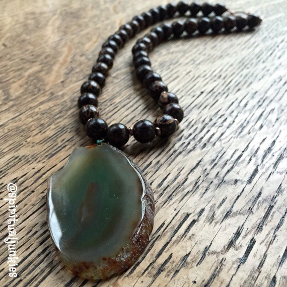 """Mala Inspired Funky Chunky 18"""" Dark Palm Wood Beads + Green Sliced Agate Yoga Necklace with Copper Clasp"""