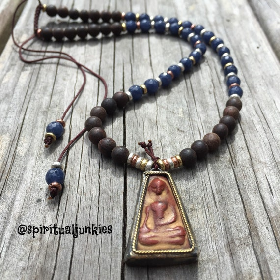 54 Bead Agarwood, Dusty Blue Dyed Jade + Rustic Buddha Pendant Yoga and Meditation Mini Mala with Mixed Metal Spacers