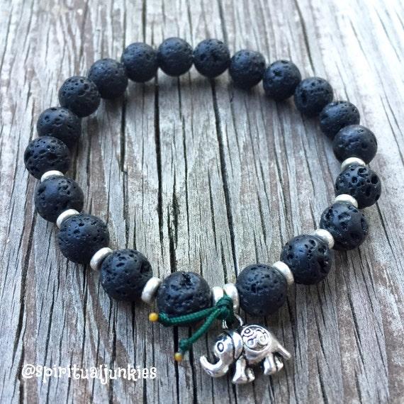 Stackable Mala Inspired Essential Oil Black Lava Bead Spiritual Junkies Yoga and Meditation Bracelet with Om Elephant Charm
