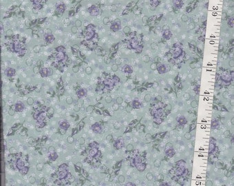 green w lavendar print  Poly Cotton designed by Country Rose