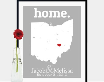 Ohio State Art, Ohio State Print, Ohio State Wall Art Ohio State Wall Decor, Cleveland Art, Cleveland Print, Custom - Any State or Country