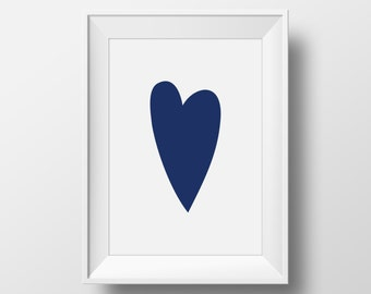 Nursery Heart Print, Blue Heart Print, Simple Heart Print, Love Printable Poster, Love Art, Love Wall Art, Simple Love Print, Love Artwork