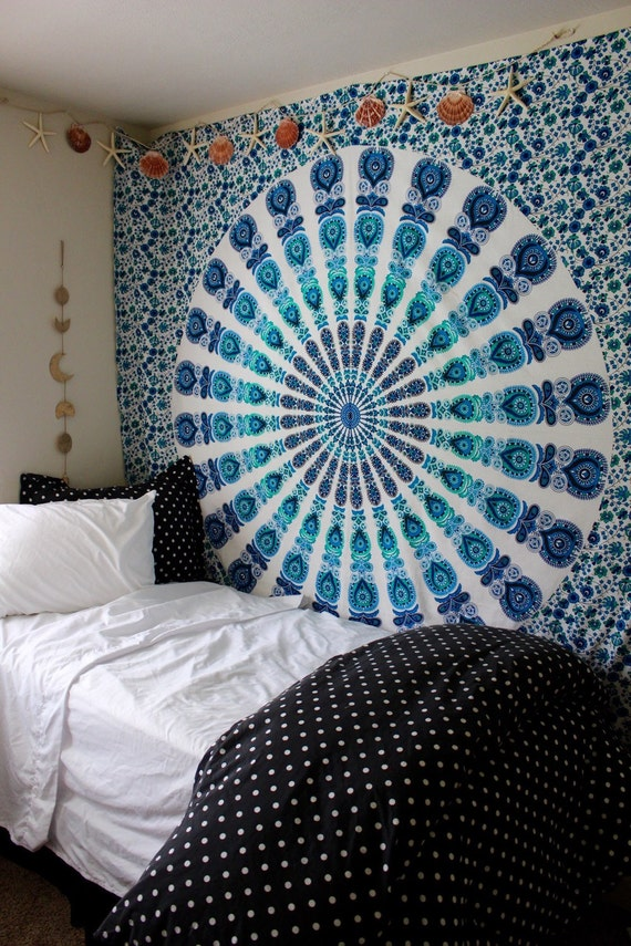 Gypsy aquamarine mandala wall tapestry blue by ladyscorpio101 for Space themed tapestry
