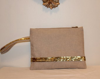 Pouch in natural linen, gold sequins and Japanese cotton Poplin