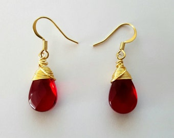 Red Crystal Gold Wrapped Earrings