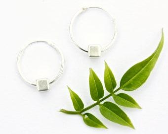 Silver hoop earrings, Sterling silver hoops, Geometric jewellery, Minimal jewellery, simple silver earrings, Kerrieberrie, Understated