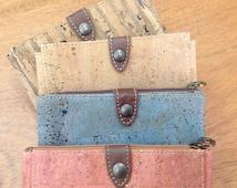 Cork wallet, natural, blue, salmon pink or stripes