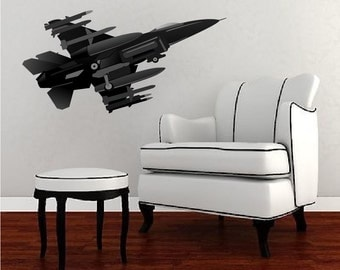 Jet Wall and Bedroom Decal, F-16 Wall Decal, Jet Wall Decal, F-16 Fighter Jet Wall Design, F-16 Fighter Jet Wall Mural, Boy's Jetn, n86