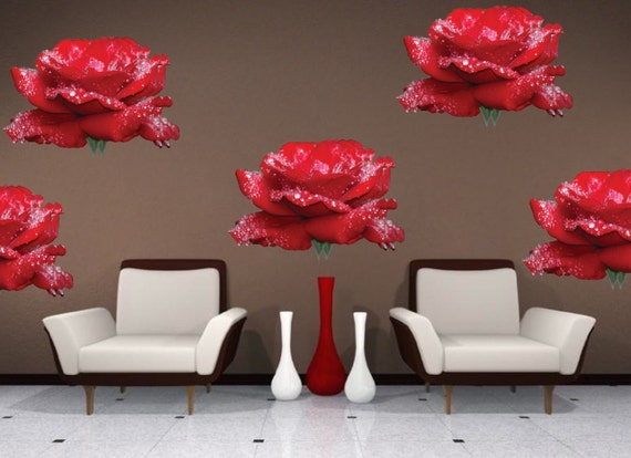 Rose wall decals self adhesive peel and stick roses by for Rose adesive