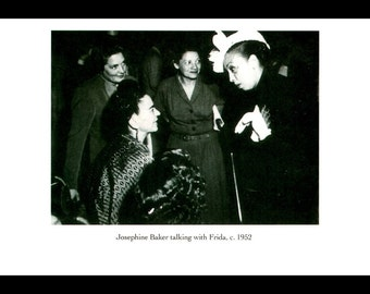 """Frida Kahlo  Photograph , Vintage 1990 Book Page Plate, """"Josephine Baker Talking With Frida""""  c. 1952"""", Professionally Matted 8 x 10"""