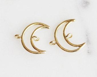 P2-015-G] Crescent Moon / 15mm / Gold plated / Pendant for Bracelet / 2 piece(s)