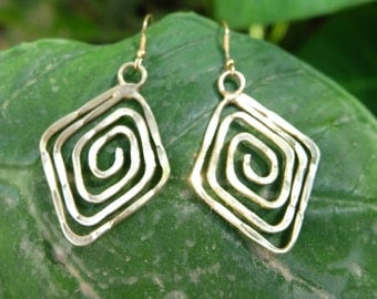 Hammered Tribal Spiral Brass Earring