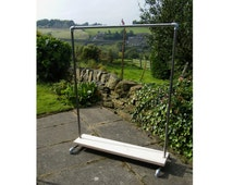 "Industrial Steel and Wood Clothes Rail - Sturdy 1"" Galvanised Steel - Reclaimed Wood - Custom size and design"